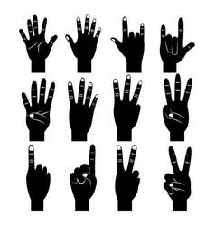 set of hands differents gestures pictogram vector image