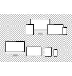 set of realistic computer monitors laptops vector image