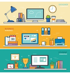 Set of thin line flat design workspace designer vector