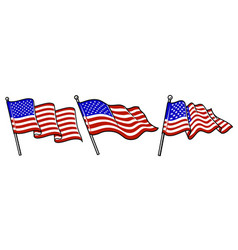 set of waving usa flags vector image