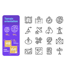 set terrain orientation simple lines icons of vector image