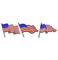set waving usa flags vector image