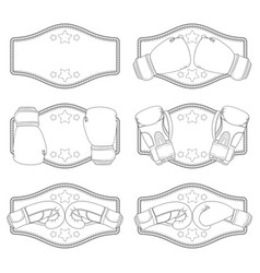 set with boxing gloves and a belt vector image