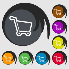 Shopping cart icon sign Symbol on eight colored vector image