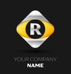 silver letter r logo in the silver-yellow square vector image