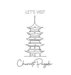single continuous line drawing chureito pagoda vector image