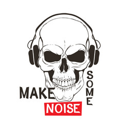 skull with headphones listen music vector image