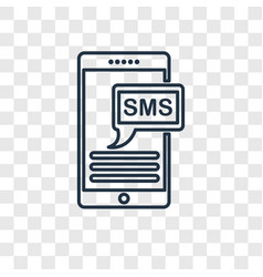 Sms concept linear icon isolated on transparent vector