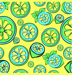 summer sale seamless background with lemon vector image