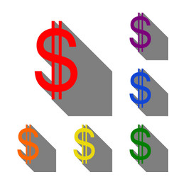 united states dollar sign set of red orange vector image