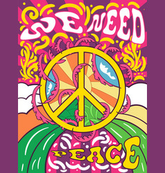 Vibrant colorful we need peace design vector
