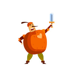 warlike apple cartoon character with sword man in vector image