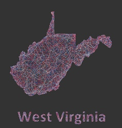 West virginia line art map vector