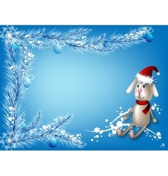 Winter blue background with a toy hare vector image