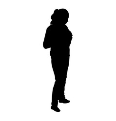 woman stands silhouette isolated on white vector image