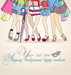 women shopping background vector image