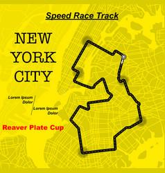 yellow ny map race track vector image