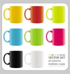 Colorful mugs vector