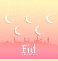 eid mubarak greeting card design with moon and vector image vector image