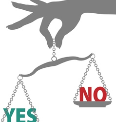 hand of woman holds scale to weigh answer to yes o vector image