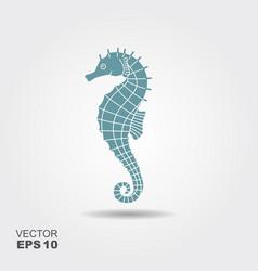 icon seahorse with shadow vector image