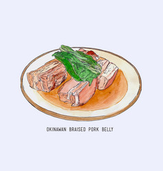 pork belly dish okinawan cuisine hand drawn vector image vector image