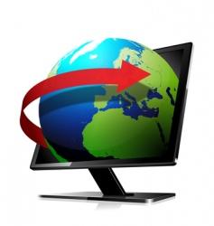 3d world travel screen vector image