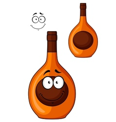 Brown liqueur bottle with a smiling face vector