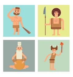 caveman primitive stone age cards cartoon vector image