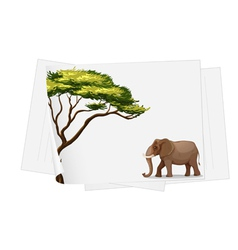 elephant in jungle on a paper vector image vector image