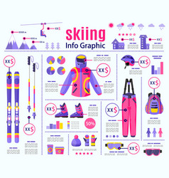 flat style skiing winter sport infographic data vector image
