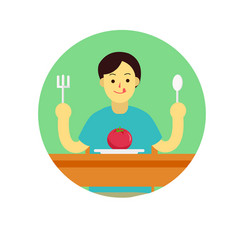 young man prepare to eat tomato with spoon vector image vector image