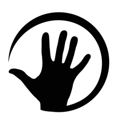 At sign with hand vector