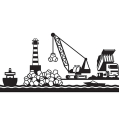 Construction of breakwater of the port vector image