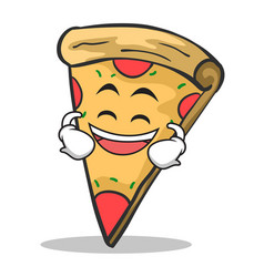 laughing face pizza character cartoon vector image vector image