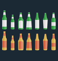 set of bottles of beer in a flat style vector image