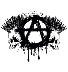 symbol anarchy and two skulls vector image