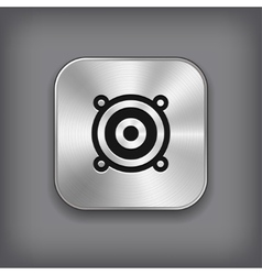 Audio speaker icon - metal app button vector image vector image