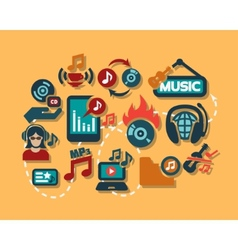 color flat music icons set vector image