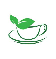 herbal green tea cup leaves logo vector image