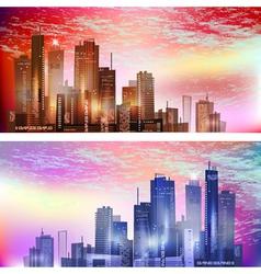 Modern City landscape in sunset vector image