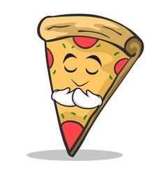 praying face pizza character cartoon vector image vector image