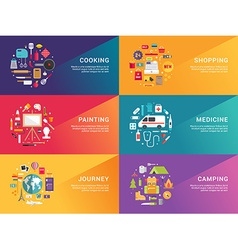 Set of flat style for web banners or promotional vector