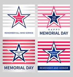 set of the memorial day card vector image
