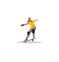 Skateboarder girl jumping sign vector