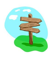 three arrow shapes cartoon wooden signpost vector image