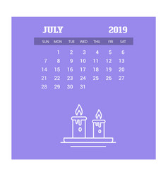 2019 happy new year july calendar template vector image
