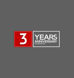 3 years anniversary in square with white and red vector