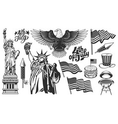 a set design elements for independence day vector image