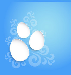 abstract easter eggs on blue background with vector image
